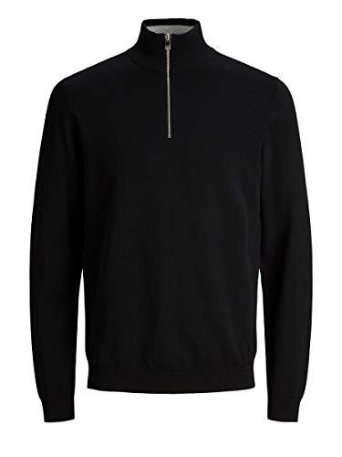 Jack & Jones JPRBLACAMP Turtle Zip Knit LTN Sweater, Noir, L Homme