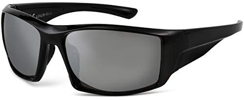 La Optica B.L.M. UV400 CAT 3 Unisex Damen Herren Sonnenbrille Sportbrille Fahrradbrille Laufen - Schwarz (Gläser: Silber Verspiegelt)