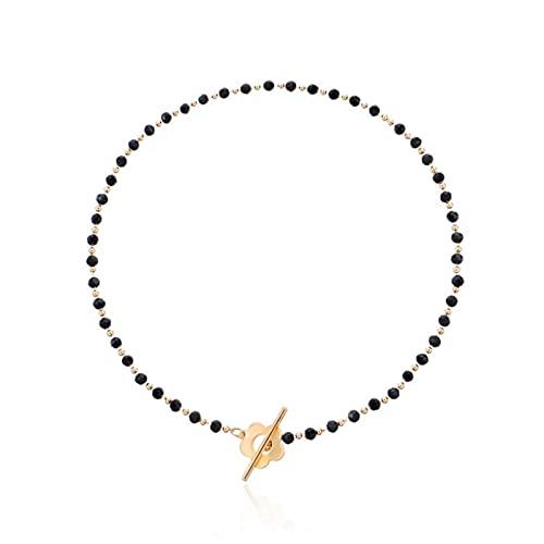 Halskette Mode Luxus Schwarz Kristall Glas Perle Kette Choker Halskette Für Frauen Blume Lariat Lock Kragen Halskette Schmuck Party Charm Goldfarbe