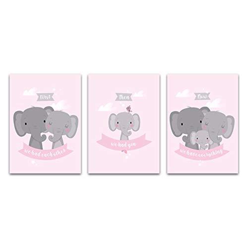 QYH olifantenfamilie muurkunst schilderijen kinderkamer canvasdruk roze poster Nordic decoratieve afbeelding citaten afdrukken baby kinderkamer decoratie 50x70cm niet ingelijst
