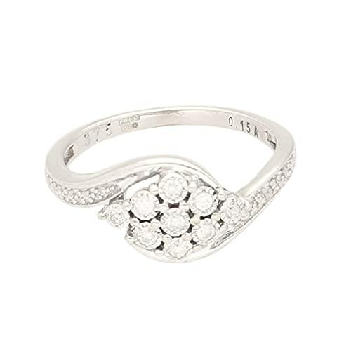Anillo de oro blanco de 9 quilates para mujer con diamante de 0,15 quilates (talla N), 9 mm de ancho, anillo de lujo para mujer