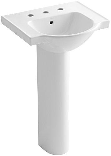 KOHLER K-5265-8-0 Veer Pedestal Bathroom Sink with 8-Inch Widespread Faucet Holes, 21-Inch, White