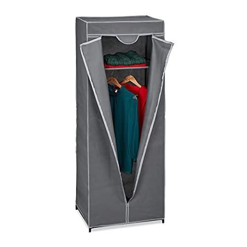 Relaxdays Stoffschrank mit Kleiderstange & 1 Ablage, HxBxT: 157x60x45 cm, Überzug mit Reißverschluss, stabil, anthrazit