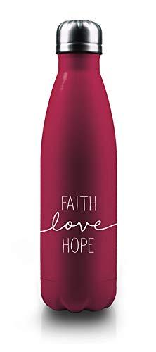 Faith-Love-Hope - Isolierflasche (Beerenrot Metallic)