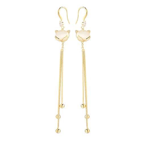 Korean Silver Needle Personality Fox Tassel Earrings Long Diamond Earrings Exquisite Lead-free Hypoallergenic Gift - Gold