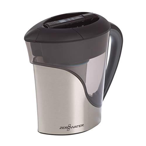 ZeroWater Jarra filtradora de agua de 2,6 litros en Acero Inoxidable, Medidor de Calidad de Agua Gratis, Libre de BPA, certificada para Reducir el Plomo y Otros Metales Pesados, Cartucho Incluido
