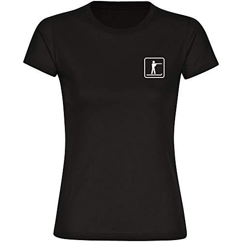 T-Shirt Biathlon Läufer/Schütze Biathlet Piktogramm auf der Brust schwarz Damen Gr. S bis 2XL - Shirt Trikot Sportshirt Logo, Größe:XL