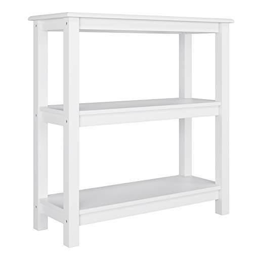Homfa Beistelltisch Nachttisch Coachtisch Sofatisch Kaffeetisch mit 3 Ablage für Wohnzimmer Schlafzimmer Badezimmer Holz Weiß 78x30x80cm