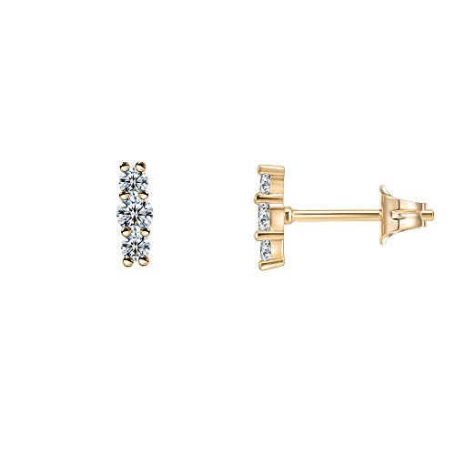 PAVOI 14K Gold Plated Sterling Silver Post Sparkling Elegance Cubic Zirconia Bar Earrings | Yellow Gold Earrings for Women