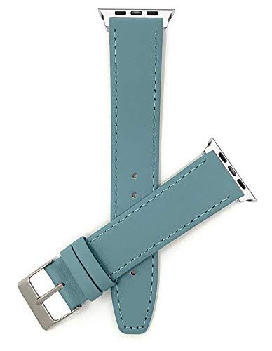 Bandini Correa de repuesto de cuero para Apple Watch, compatible con Apple Watch Series 6, 5, 4, 3, 2, 1 y iWatch – Colorido – Delgado – Hebilla de tono azul bebé/plata – 38 mm, 40 mm