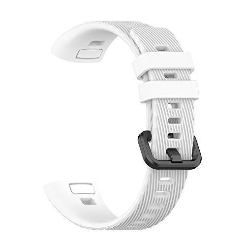 DeYL Correa de Repuesto Color Sólido de Silicona Suave Reloj Smart Watch para Huawei Band 3 Pro - Blanco