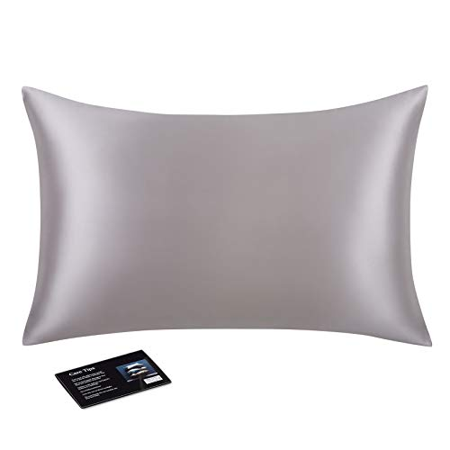 100% Pure Mulberry Silk Pillowcase for Hair and Skin with Invisible Zipper, 22 Momme 6A Long Fiber Silk Pillow Cases, Silver Grey, King