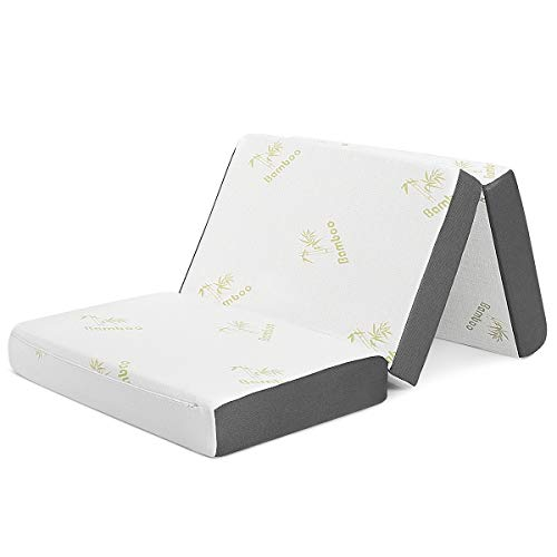 Giantex 6 Inch Tri Folding Memory Foam Mattress w/Case, Soft Removable Bamboo Cover, Used as Fold Up Guest Bed & Camp Cot, Multifunctional Mattress for Sleep Comfort (Full Size)