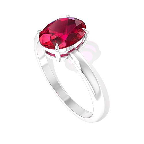 Anillo de compromiso con solitario de 1,55 quilates, color rojo, certificado SGL, con rubí, clásico de julio, con piedra natal de la promesa de novia, anillos a juego, 14K Oro rosa, Size:EU 60