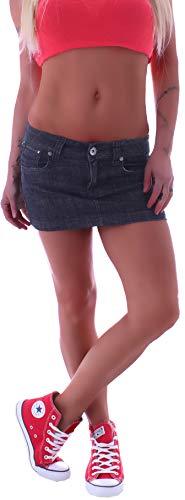 Damen Jeans Minirock Rock Blau Tiefsitzend Jeansrock blau-er Mini-Röcke Jeansröcke kurz-er Damen-Röcke Jean-Mini Damenrock Low Waist Rise Denim eng-er gr größe Size S 36 Dunkel-Blau-er
