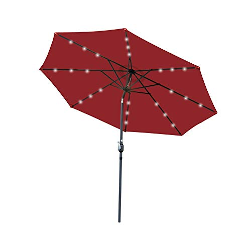 Ministry of Warehouse 10' Umbrella Solar LED Steel Tilt w/Crank Patio Furniture