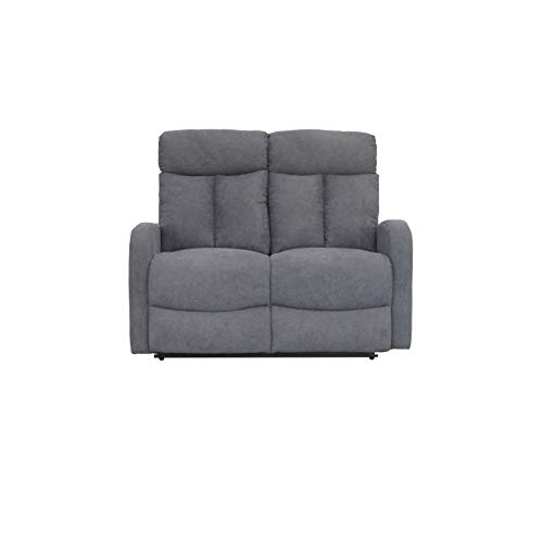 SHIITO - Sofá de 2 Plazas con Sistema Relax Manual, Modelo Fran HD1808 128X95X100 Color Gris