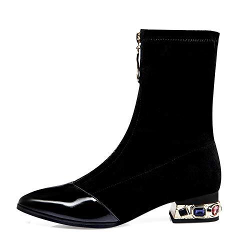 Xiand Stiefeletten Damen Kurze Stiefel mit Absatz Vintage Reißverschluss Biker Boots für Frauen mit Absatz,Ankle Boots Damen Winterstiefel Absatzschuhe Knöchelschuhe