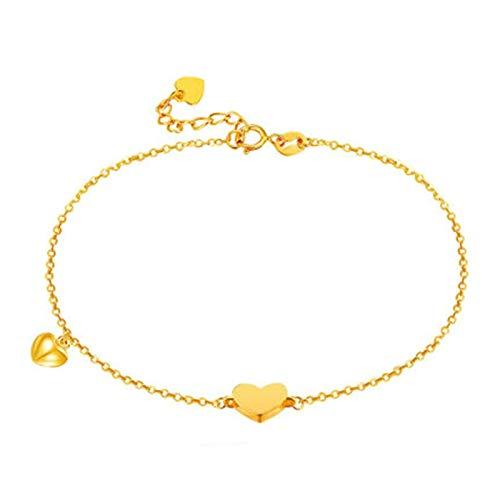 Beydodo Brazaletes Oro Mujer,Pulsera Mujer Oro Amarillo 18 Kilates Cadena de Rolo con Doble Corazones Longitud 16.5cm + 2.5cm