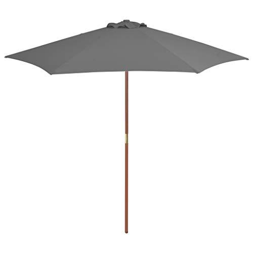 Parasol d'extérieur avec mât en bois 270 cm Anthracite
