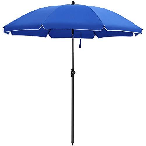 SONGMICS Sonnenschirm, Ø 160 cm, Marktschirm, UV Schutz UPF 50+, Sonnenschutz, achteckiger Gartenschirm aus Polyester, Schirmrippen aus Glasfaser, mit Tragetasche, Blau GPU60BU