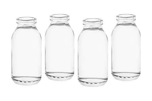 casavetro 12 x kleine Vasen Glasflaschen C-Dko-TR-Milch -ohne Korken-Glasfläschchen Landhaus Vintage Vase Flasche Glas klar Mini Milchflaschen Dekoflaschen C-Deko-TR (12 x Vase)