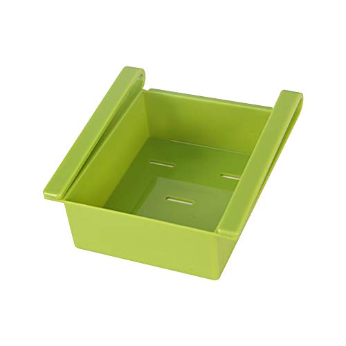 Caja de almacenamiento para cajón de frigorífico, organizador de cocina, estante especial deslizante para nevera, estante para cocina, frutas, utensilios para contenedores de alimentos verde