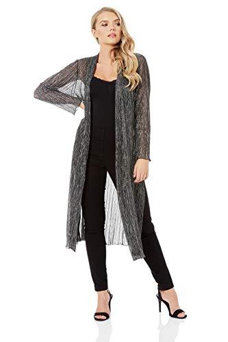 Roman Originals Plisse - Kimono metálico para mujer, brillante, fiesta, ocasión especial, manga larga, ligera, con cubierta brillante Rosa gris 38