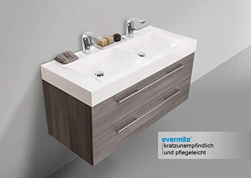 Intarbad ~ Design Badmöbel Set mit LED Lichtspiegel, Doppelwaschtisch und Unterschrank Grau Matt Lack IB5299