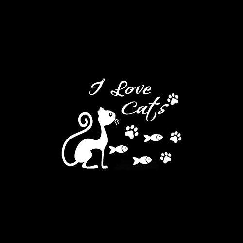 RJGOPL Adesivi per Auto 16.5 cm * 12.5 cm do Gatinho do Gato Do Animal de Estimação Peixe Pata Impressões Amor Arte da Família Adesivos de Carro Decalque de Vinil Preto Prata C10-02380Prata