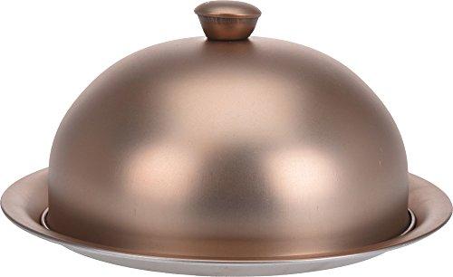 EH Excellent Houseware Servierplatte mit Glocke, Speiseglocke mit Servierteller, matt 20x10 cm - dunkel, Farbe:hell