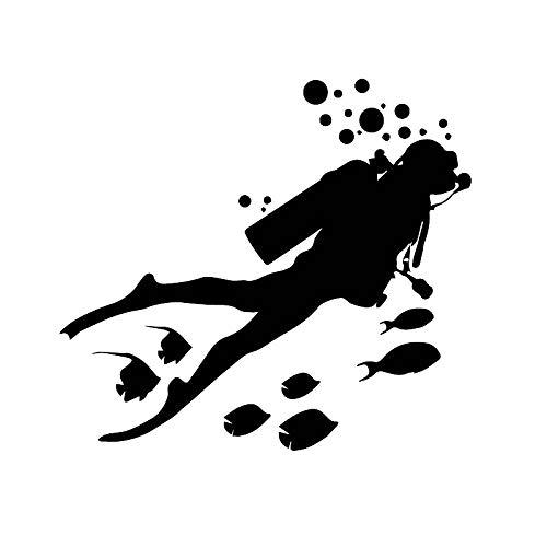 ZCZWQ Autoadesivo dell'automobile Ocean World Immersioni Adventure Decalcomania Pesce Auto Moto Impermeabile Sun Protection Decalcomanie, 18 x 16 cm (Color Name : BLACK, Size : 18cm X 16cm)