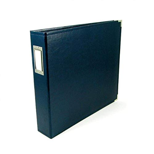 Price comparison product image 8.5 x 11-inch Classic Leather 3-Ring Album by We R Memory Keepers / Navy,  includes 5 page protectors