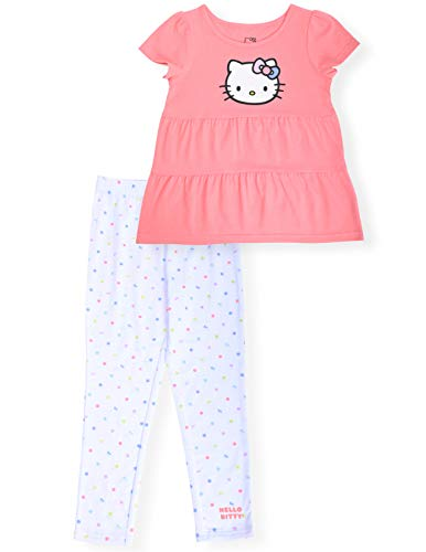 Hello Kitty Girls 2-Piece Fashion Tee Shirt and Active Capri Legging Set Ruffle Top and Tight Stretch Ankle Length Yoga Pants for Little Girls (Coral, 7)