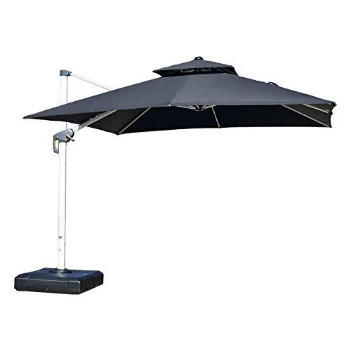 PURPLE LEAF 10 Feet Double Top Deluxe Square Patio Umbrella Offset Hanging Umbrella Cantilever Umbrella Outdoor Market Umbrella Garden Umbrella, Black