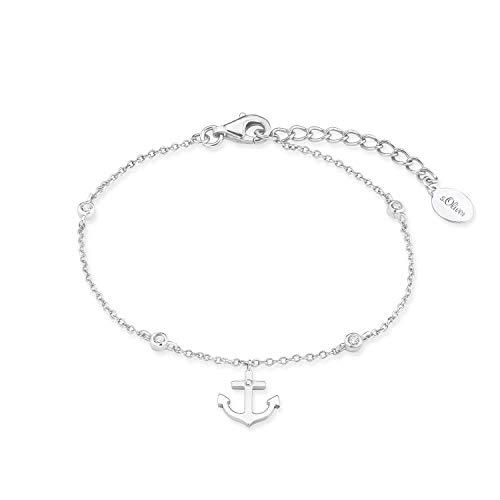 s.Oliver Armband für Damen, Sterling Silber 925, Zirkonia Anker