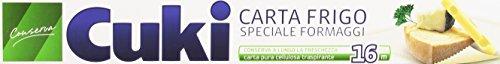 Cuki - Carta Frigo, Speciale Fromaggi, Conserva a Lungo la Freschezza, Carta Pura Cellulosa Transpirante - 4 confezioni da 16 metri [64 metri]