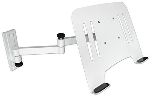DRALL INSTRUMENTS Soporte de Montaje en Pared para computadora portátil Blanco con Adaptador de portátil Bandeja de Placa Blanca Modelo: L52W-IP3WA