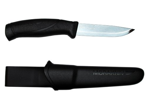 Morakniv Companion Fixed Blade Outdoor Knife with Sandvik Stainless Steel Blade, 4.1-Inch, Black