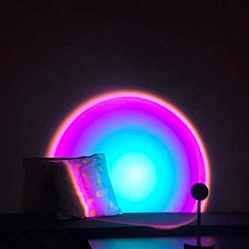 LED Atmosphere Colorful Lampara Mesa,Moderna Inteligente Luz Nocturna,Sun/Rainbow/Sunset Projection Floor Light,Bar Party Atmosphere Light Lamp,Bedroom Romantic Projector Gift,USB Charging,Rainbow