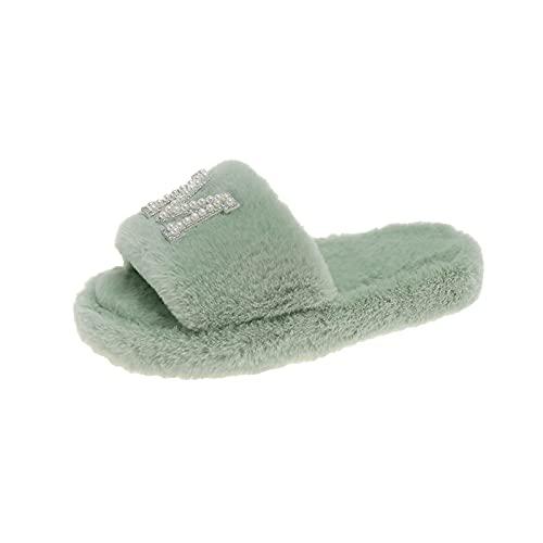 URIBAKY - Zapatillas con letras de estrás para mujer, de algodón, con apertura en casa, de felpa, antideslizantes, para interior y exterior, verde, 38 EU