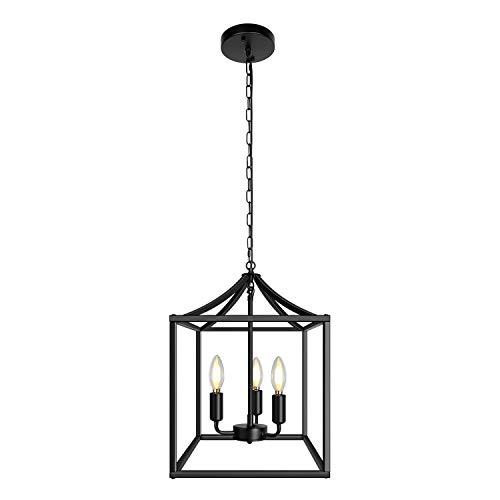 Lámpara de techo colgante para exterior, lámpara de araña con cordón, diseño industrial retro loft, color negro