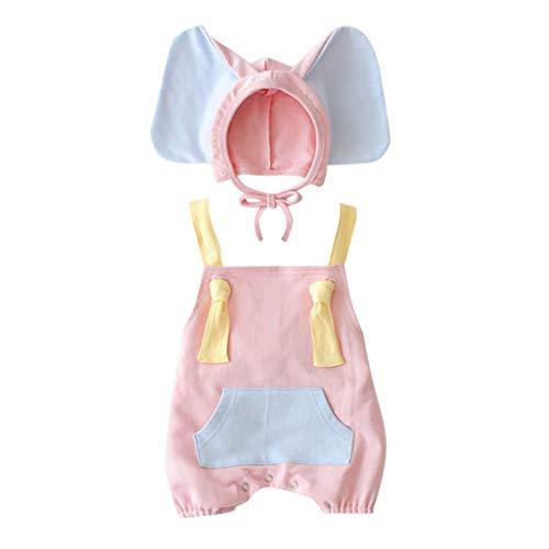 Julhold Baby Mädchen Junge Kind Niedlich Mode Ärmellos Lose Strampler + Cartoon Elefanten Hut Kostüm Outfits Set 0-3 Jahre