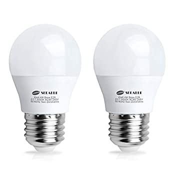 LED Refrigerator Light Bulb 4 Watt Seealle Waterproof Freezer LED Light Bulbs A15 E26 Medium Base Appliance Fridge Light Bulb 40 Watt Equivalent 120V Daylight White Not-Dim  Pack of 2