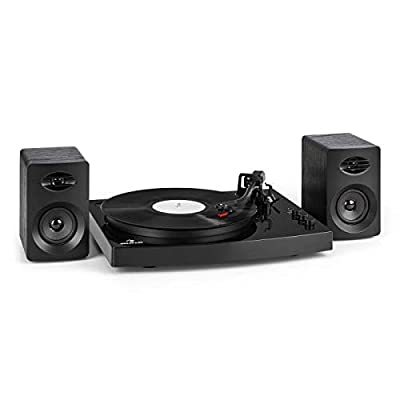 AUNA TT-Play - Turntable including 2 Stereo Speakers, Record Player, Turntable Set, Smooth-running Belt Drive, Exchangeable Ceramic Pickup, Tone Arm, 33 1/3 and 45 RPM, Bluetooth 4.2, Black