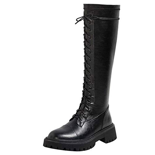 Shinelyf Classico Mujer Largo Boots Moda Martin Botas Personalidad con Cremallera Fáciles De Poner Buena Elasticidad Fondo Grueso hasta La Rodilla,Black Without Velvet,35