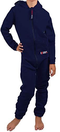 Gennadi Hoppe Kinder Jumpsuit - Jungen, Mädchen Onesie Jogger Einteiler Overall Jogging Anzug Trainingsanzug, Navy,134-140