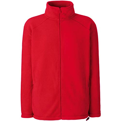 Fruit of the Loom Full Zip Fleece Sweat-Shirt, Rouge (Red), X-Large Homme