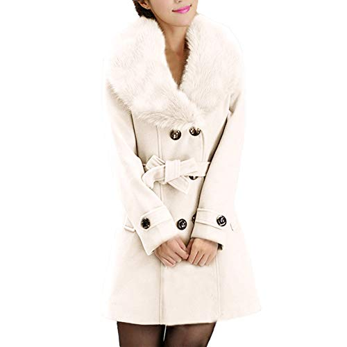 VEMOW Herbst Frauen Warm Schlank Mantel Mode Kunstpelz Revers Zweireiher Jacke Parka Mantel Lange Wolle Trenchcoat Jacke Winter Outwear(X1-Weiß, 38 DE/M CN)
