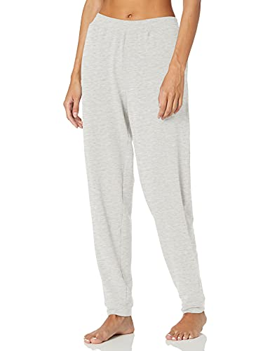 Hue Women's Solid French Terry Cuffed Long Lounge Pant With Pockets Sleepwear, -White Sand Heather, Medium